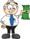 Clip Art Graphic of a Geeky Caucasian Businessman Cartoon Character Holding a Dollar Bill