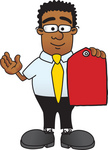 Clip Art Graphic of a Geeky African American Businessman Cartoon Character Holding a Red Sales Price Tag