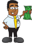 Clip Art Graphic of a Geeky African American Businessman Cartoon Character Holding a Dollar Bill