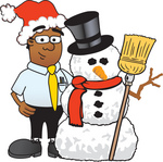 Clip Art Graphic of a Geeky African American Businessman Cartoon Character With a Snowman on Christmas