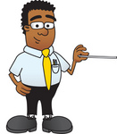 Clip Art Graphic of a Geeky African American Businessman Cartoon Character Holding a Pointer Stick