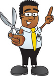 Clip Art Graphic of a Geeky African American Businessman Cartoon Character Holding a Pair of Scissors