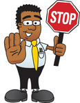Clip Art Graphic of a Geeky African American Businessman Cartoon Character Holding a Stop Sign