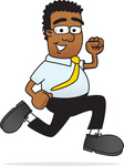 Clip Art Graphic of a Geeky African American Businessman Cartoon Character Running