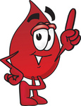 Clip Art Graphic of a Transfusion Blood Droplet Mascot Cartoon Character Pointing Upwards