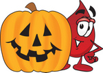 Clip Art Graphic of a Transfusion Blood Droplet Mascot Cartoon Character With a Carved Halloween Pumpkin
