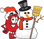 Clip Art Graphic of a Transfusion Blood Droplet Mascot Cartoon Character With a Snowman on Christmas