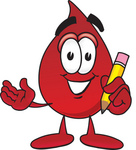 Clip Art Graphic of a Transfusion Blood Droplet Mascot Cartoon Character Holding a Pencil