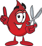 Clip Art Graphic of a Transfusion Blood Droplet Mascot Cartoon Character Holding a Pair of Scissors
