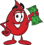 Clip Art Graphic of a Transfusion Blood Droplet Mascot Cartoon Character Holding a Dollar Bill