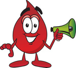 Clip Art Graphic of a Transfusion Blood Droplet Mascot Cartoon Character Holding a Megaphone