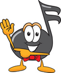 Clip Art Graphic of a Semiquaver Music Note Mascot Cartoon Character Waving and Pointing