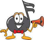 Clip Art Graphic of a Semiquaver Music Note Mascot Cartoon Character Holding a Megaphone