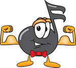 Clip Art Graphic of a Semiquaver Music Note Mascot Cartoon Character Flexing His Arm Muscles