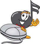 Clip Art Graphic of a Semiquaver Music Note Mascot Cartoon Character With a Computer Mouse
