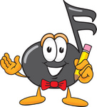 Clip Art Graphic of a Semiquaver Music Note Mascot Cartoon Character Holding a Pencil