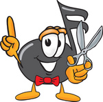 Clip Art Graphic of a Semiquaver Music Note Mascot Cartoon Character Holding a Pair of Scissors