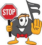 Clip Art Graphic of a Semiquaver Music Note Mascot Cartoon Character Holding a Stop Sign