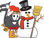 Clip Art Graphic of a Semiquaver Music Note Mascot Cartoon Character With a Snowman on Christmas
