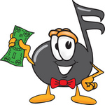 Clip Art Graphic of a Semiquaver Music Note Mascot Cartoon Character Holding a Dollar Bill