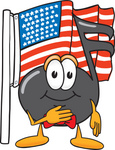 Clip Art Graphic of a Semiquaver Music Note Mascot Cartoon Character Pledging Allegiance to an American Flag