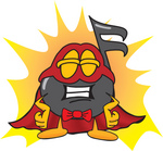 Clip Art Graphic of a Semiquaver Music Note Mascot Cartoon Character Dressed as a Super Hero