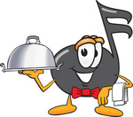 Clip Art Graphic of a Semiquaver Music Note Mascot Cartoon Character Dressed as a Waiter and Holding a Serving Platter