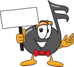 Clip Art Graphic of a Semiquaver Music Note Mascot Cartoon Character Holding a Blank Sign