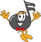Clip Art Graphic of a Semiquaver Music Note Mascot Cartoon Character Jumping