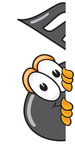 Clip Art Graphic of a Semiquaver Music Note Mascot Cartoon Character Peeking Around a Corner