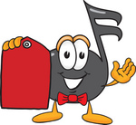 Clip Art Graphic of a Semiquaver Music Note Mascot Cartoon Character Holding a Red Sales Price Tag