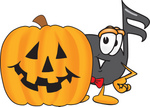 Clip Art Graphic of a Semiquaver Music Note Mascot Cartoon Character With a Carved Halloween Pumpkin