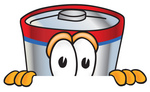 Clip Art Graphic of a Battery Mascot Character Peeking Over a Surface