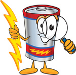 Clip Art Graphic of a Battery Mascot Character Holding A Bolt Of Energy And Looking Through A Magnifying Glass