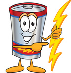 Clip Art Graphic of a Battery Mascot Character Holding A Bolt Of Energy And Pointing To The Right