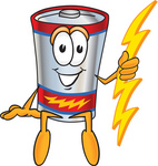 Clip Art Graphic of a Battery Mascot Character Sitting And Holding A Bolt Of Energy