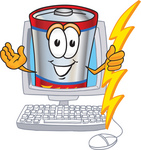Clip Art Graphic of a Battery Mascot Character Holding A Bolt Of Energy And Waving In A Computer Screen
