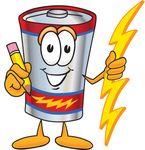 Clip Art Graphic of a Battery Mascot Character Holding a Pencil
