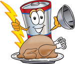 Clip Art Graphic of a Battery Mascot Character Serving a Thanksgiving Turkey on a Platter