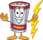 Clip Art Graphic of a Battery Mascot Character Holding A Bolt Of Energy And Welcoming