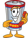 Clip Art Graphic of a Battery Mascot Character Holding a Telephone