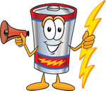 Clip Art Graphic of a Battery Mascot Character Holding A Bolt Of Energy And Megaphone