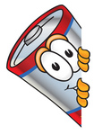 Clip Art Graphic of a Battery Mascot Character Peeking Around a Corner