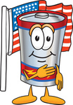Clip Art Graphic of a Battery Mascot Character Pledging Allegiance to an American Flag