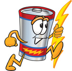 Clip Art Graphic of a Battery Mascot Character Holding A Bolt Of Energy And Running