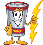 Clip Art Graphic of a Battery Mascot Character Holding A Bolt Of Energy And Pointing at the Viewer