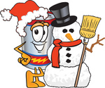 Clip Art Graphic of a Battery Mascot Character Wearing A Santa Hat And Posing With A Snowman On Christmas