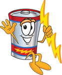 Clip Art Graphic of a Battery Mascot Character Holding A Bolt Of Energy And Jumping