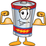 Clip Art Graphic of a Battery Mascot Character Flexing His Arm Muscles
