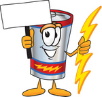 Clip Art Graphic of a Battery Mascot Character Holding A Bolt Of Energy And A Blank Sign